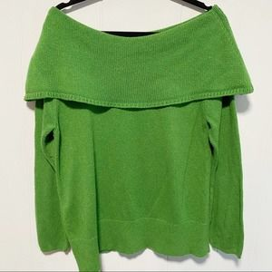 Lane Bryant Green Off the Shoulder Chunky Sweater